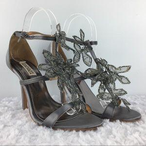 Badgley Mischka Silver Wire Flowers Strappy Heels